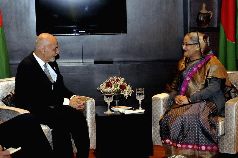 Bangladesh Prime Minister Sheikh Hasina meets Afghanistan President Ashraf Ghani during the 18th SAARC Summit, in Kathmandu, Nepal, on Nov 26, 2014. - Sheikh Hasina