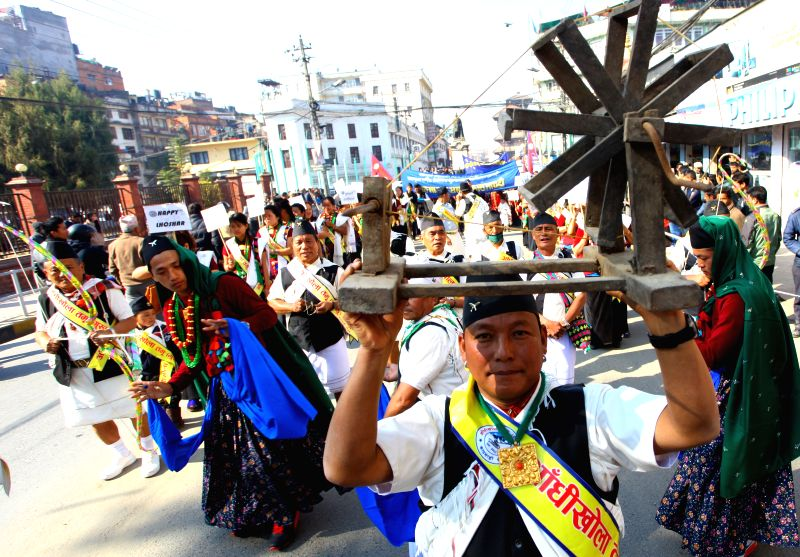 People from Gurung community participate in the celebration of Tamu Lhosar festival in Kathmandu, Nepal, Dec. 30, 2014. Tamu Lhosar is celebration of Gurung's new