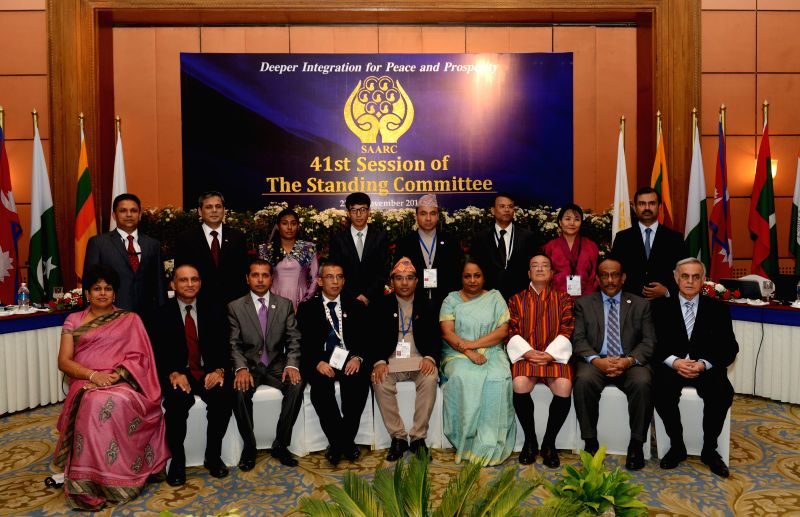 Delegations of SAARC countries pose for photos during the 41st session of the South Asian Association for Regional Cooperation (SAARC) standing Committee ahead of the 18th SAARC summit in .
