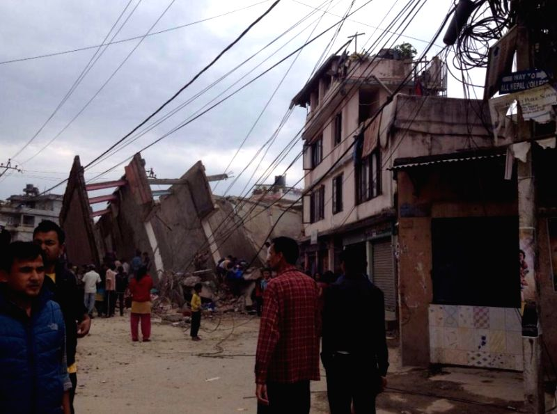 Destruction caused by the massive earthquake that rocked Nepal, in Kathmandu on April 25, 2015.