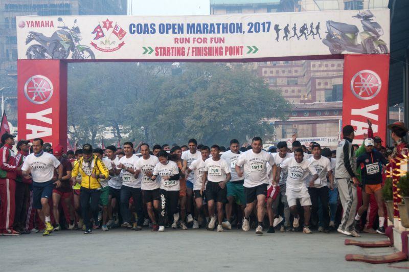 KATHMANDU, Feb. 11, 2017 - People participate in the CoAS Open Marathon 2017 in Kathmandu, Nepal, Feb. 11, 2017. Nearly 2,000 people participated in the marathon.