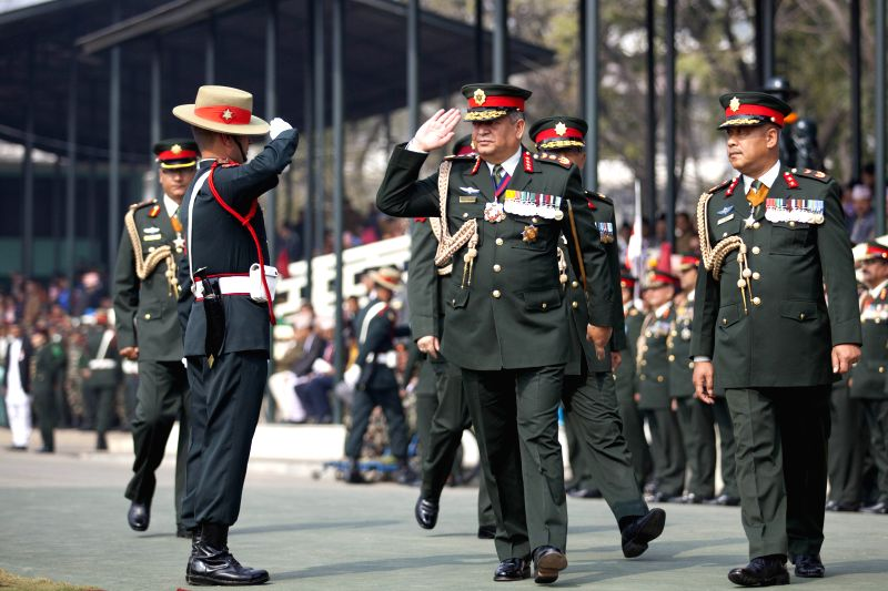 Nepalese Chief of Army Staff Gaurav Sumsher Rana (C) attends the Army Day celebration at Tundikhel in Kathmandu, Nepal, Feb. 17, 2015. Army day is celebrated ...