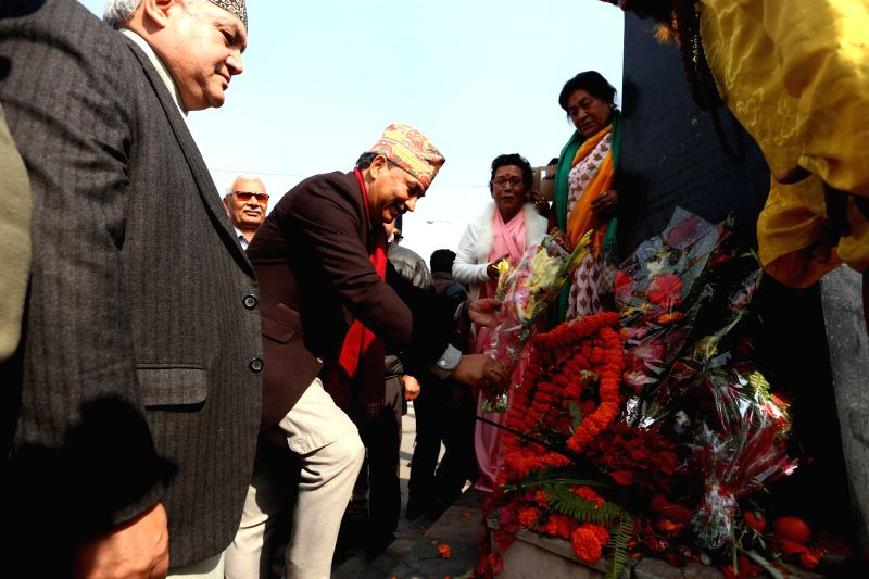 KATHMANDU, Jan. 11, 2017 - Kamal Thapa, President of the Rastriya Prajatantra Party-Nepal (RPP-N) (2nd L, front) offers flowers to the statue of late King Prithvi Narayan Shah during the celebration ... - Prithvi Narayan Shah