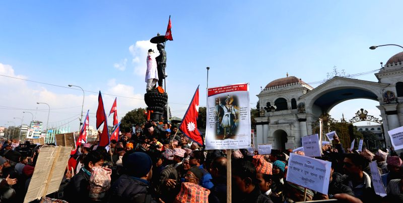 KATHMANDU, Jan. 11, 2017 - Nepalese people participate in the celebration of the 295th birth anniversary of late King Prithvi Narayan Shah at Singhadurbar in Kathmandu, capital of Nepal, Jan. 11, ... - Prithvi Narayan Shah