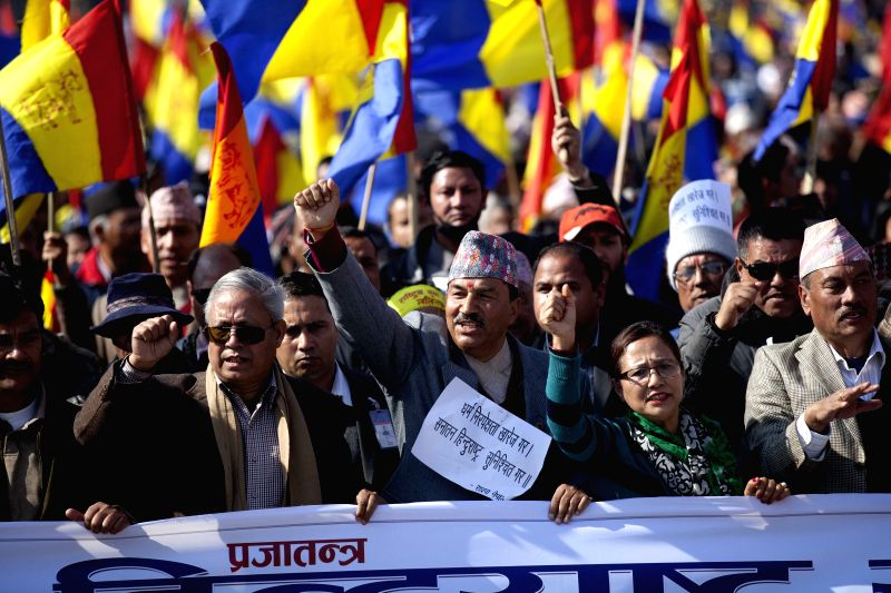 Chairman of the Rastriya Prajatantra Party -Nepal (RPP-N)  Kamal Thapa (C front) attends a protest in Kathmandu, Nepal on Jan. 18, 2015. Demanding to reinstate ...