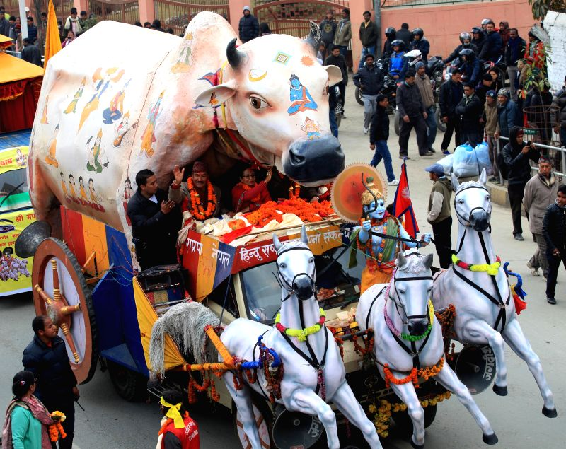 Cadres of Rastriya Prajatantra Party Nepal (RPP-N) participate in a chariot rally, appealing for the revival of Nepal as a Hindu state in Kathmandu, Nepal, Jan. 2,