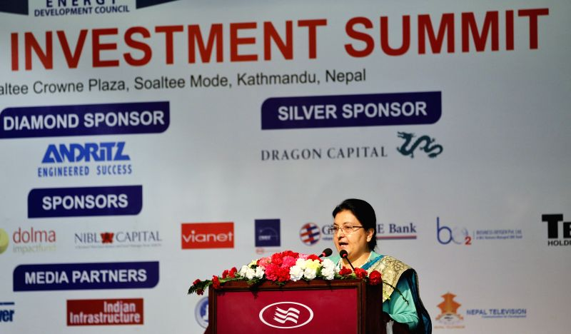 KATHMANDU, Jan. 27, 2018 - Nepali President Bidya Devi Bhandari addresses the Nepal Power Investment Summit 2018 in Kathmandu, Nepal, on Jan. 27, 2018. Bidya Devi Bhandari on Saturday urged domestic ...