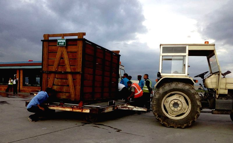 KATHMANDU, July 12, 2018 - Photo taken on July 12, 2018 shows a cage for one-horned rhino, ready to transfer by air at Tribhuwan International Airport in Kathmandu, Nepal. A couple of rhinos named as ...