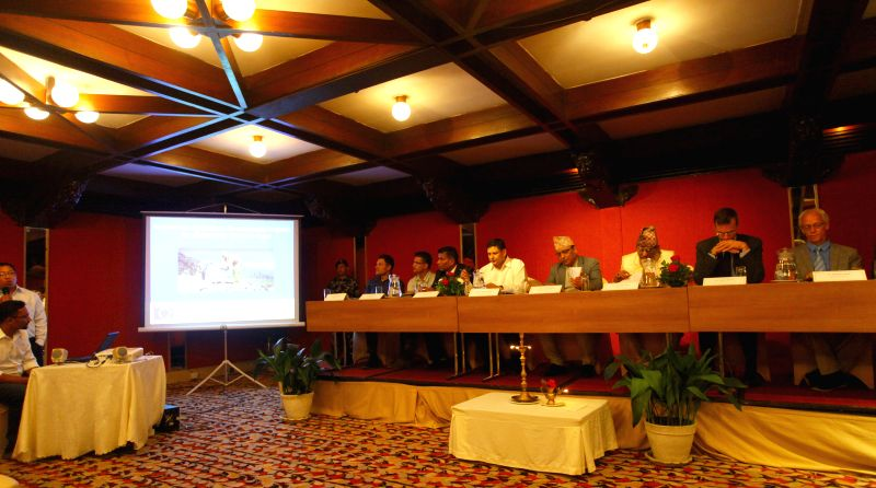 Nepalese Minister for Agriculture Development Hari Prasad Parajuli (4th R) and other distinguished personalities attend the launching program of the ...