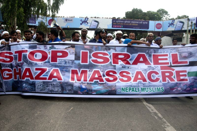 Nepalese Muslims take part in a protest rally against the Israeli attacks on Gaza in front of the Israeli Embassy in Kathmandu, Nepal, July 18, 2014.