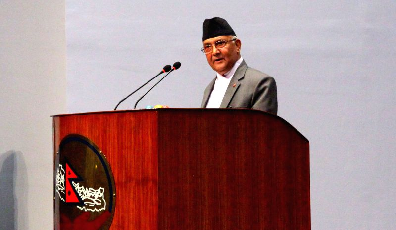 KATHMANDU, July 24, 2016 - Nepalese Prime Minister K.P Sharma Oli announces his resignation in the parliament in Kathmandu, capital of Nepal, on July 24, 2016. Nepalese Prime Minister K.P Sharma Oli ... - K. and P Sharma Oli