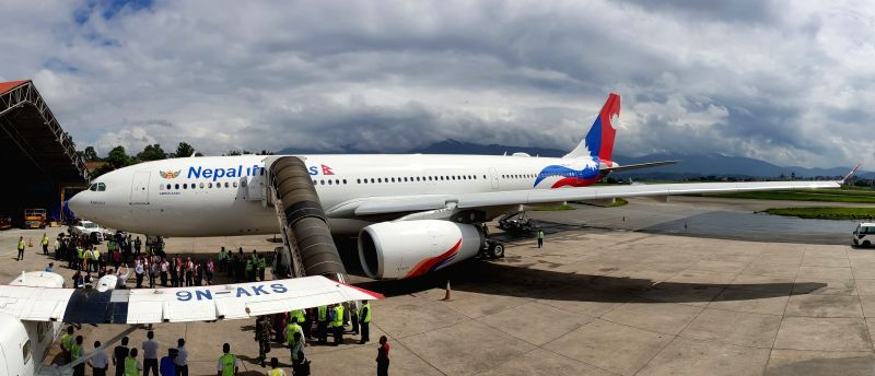 KATHMANDU, July 26, 2018 - The airbus A330-200, which has been named Makalu, lands at Tribhuvan International Airport from France in Kathmandu, Nepal, on July 26, 2018. Nepal Airlines Corporation ...