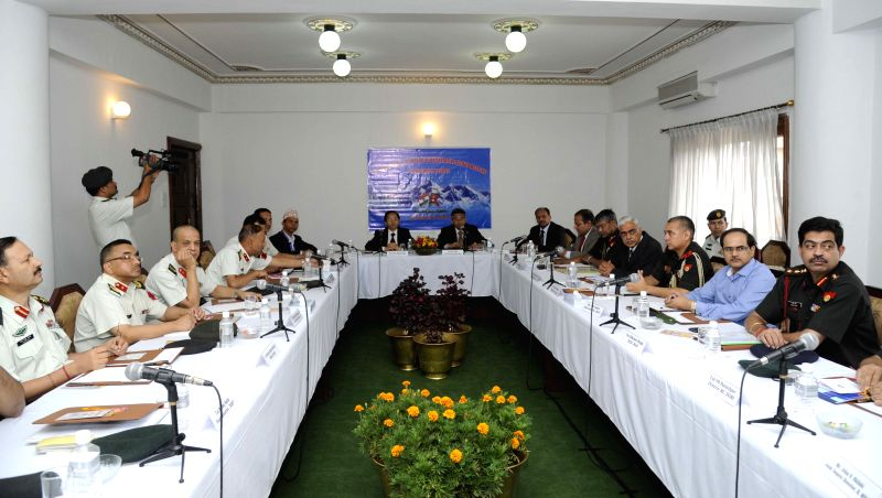 Participants attend the 11th meeting of Nepal-India Bilateral Consultative group meeting on security issues organized at Nepalese Army Headquarter in Kathmandu, ...