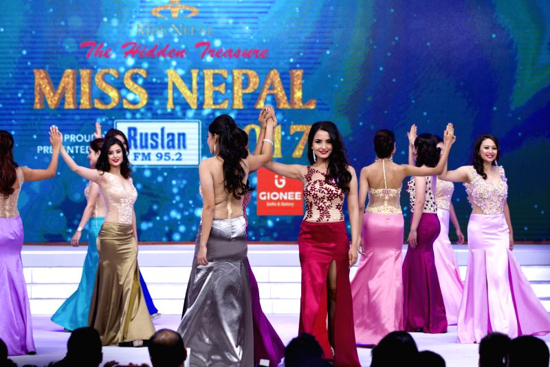 KATHMANDU, June 3, 2017 - Participants of the Miss Nepal 2017 perform during the grand finale of Miss Nepal 2017 beauty pageant in Kathmandu, the capital of Nepal, on June 2, 2017. Nineteen ...