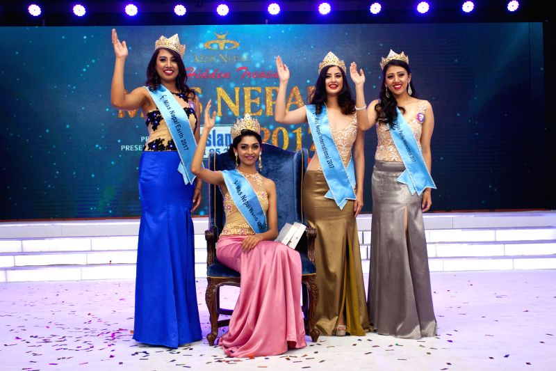 KATHMANDU, June 3, 2017 - Winner of Miss Nepal World 2017 Nikita Chandak (2nd L), Miss Nepal Earth 2017 Rojina Shrestha (1st L), Miss Nepal International 2017 Niti Shah (2nd R) and Miss Nepal Asia ... - Niti Shah