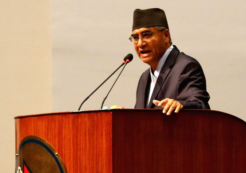 KATHMANDU, June 6, 2017 - President of the Nepali Congress Sher Bahadur Deuba addresses before the election at the parliament in Kathmandu, Nepal, June 6, 2017. Sher Bahadur Deuba was elected as the ...