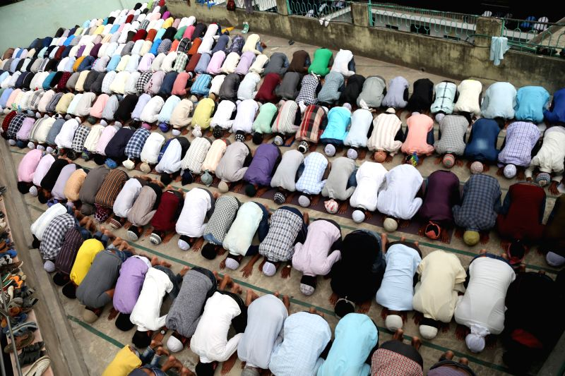 KATHMANDU, June 9, 2017 - Muslims offer prayers during the second Friday of the Islamic holy month of Ramadan at a mosque in Kathmandu, Nepal, June 9, 2017.