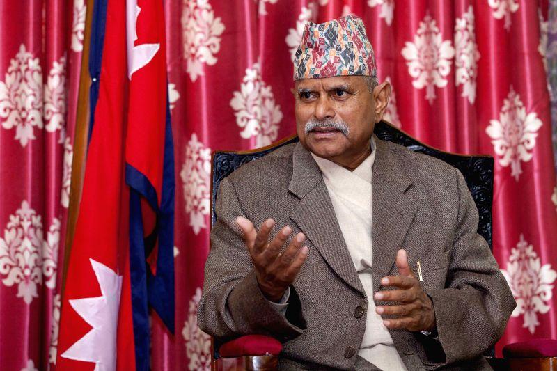 Nepalese President Ram Baran Yadav attends an interview by Xinhua News Agency in Kathmandu, Nepal, March 18, 2015. - Baran Yadav