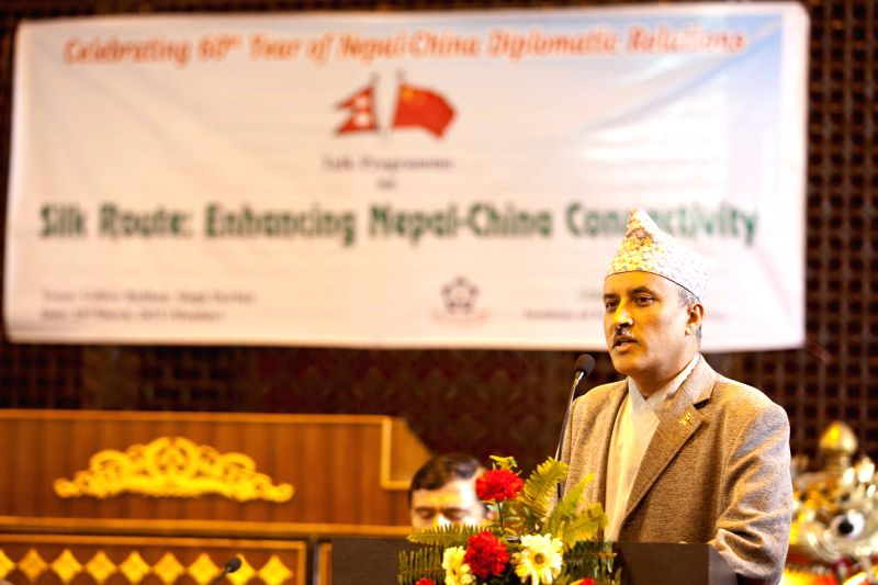 Chief Secretary of the Nepalese Government Lila Mani Poudel delivers a speech at a talk program on Silk Route: Enhancing Nepal-China Connectivity on the occasion ...