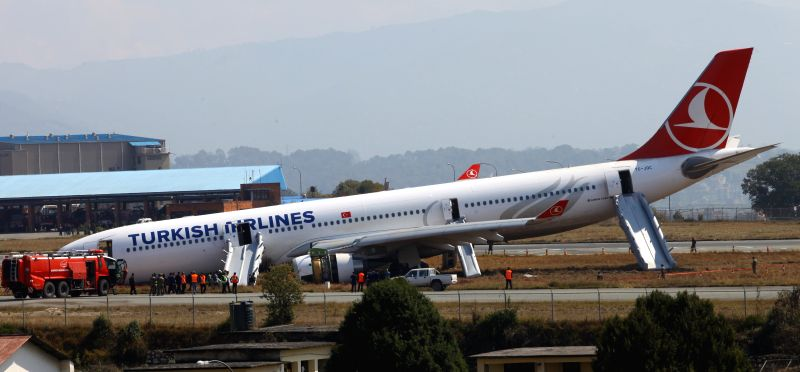 A Turkish Airlines A330's front landing gear collapsed and the plane nose-dived on the runway at Tribhuwan International Airport in Kathmandu, Nepal, March 4, ...