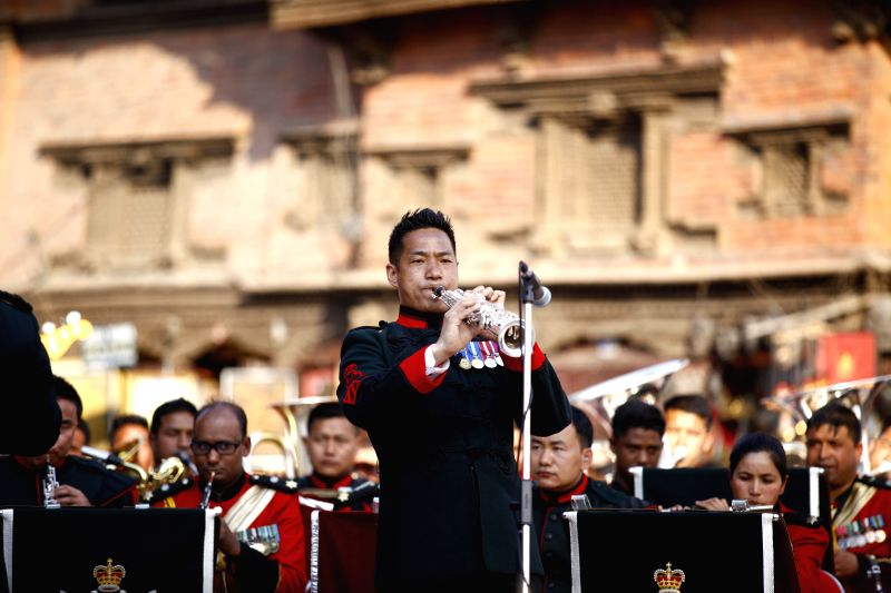 An British Army soldier plays music on the occasion of 200 years of Gurkha Brigade band relation between Nepal and UK at Basantapur Durbar Square, Kathmandu, ...