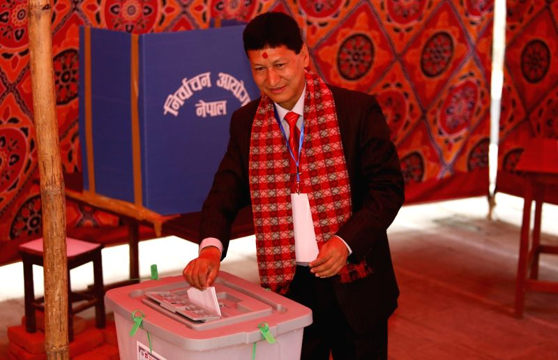 KATHMANDU, May 14, 2017 - Bidhya Sundar Shakya, Mayoral candidate for CPN (UML) casts his vote at a polling station during local elections in Kathmandu, Nepal on May 14, 2017. Voting began across ...