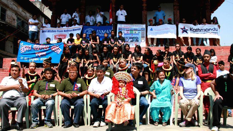 Participants attend a walk-a-thon in support of seven summits women team in Kathmandu, Nepal, May 17, 2014. Seven summit women team is the first female team ...