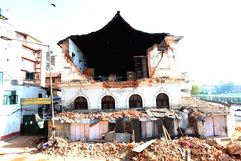 Photo taken on May 4, 2015 shows a damaged building of the country's oldest modern school, Durbar High School, in Kathmandu, Nepal. An estimated 5,000 schools were ... - Sunil Sharma