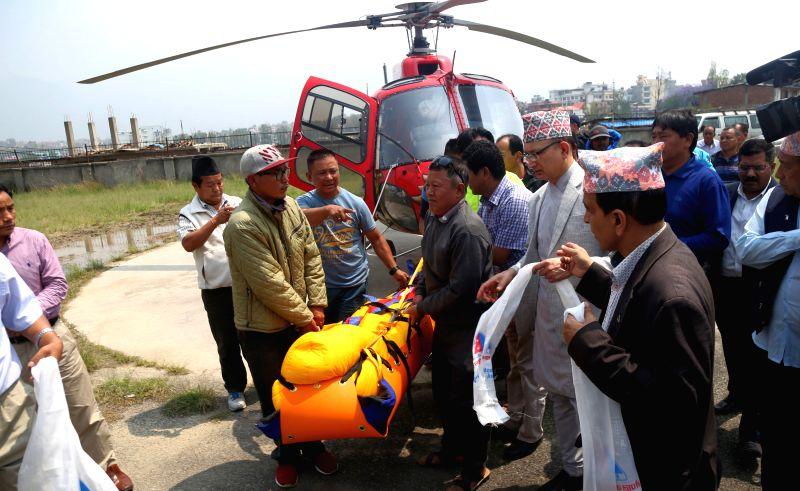 KATHMANDU, May 7, 2017 - The body of Min Bahadur Sherchan arrives in Kathmandu, Nepal, May 7, 2017. Nepal's Min Bahadur Sherchan, 86, who had sought to reclaim the crown of the world's oldest ... - Sunil Sharma