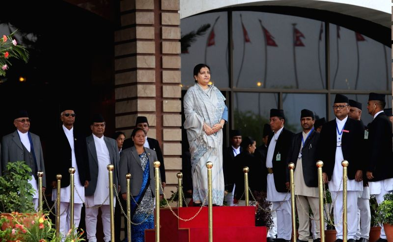 KATHMANDU, May 8, 2016 - Nepalese President Bidhya Devi Bhandari inspects the guard of honour before presenting the Nepalese government's annual policy and programme for the next fiscal year 2016/17 ...