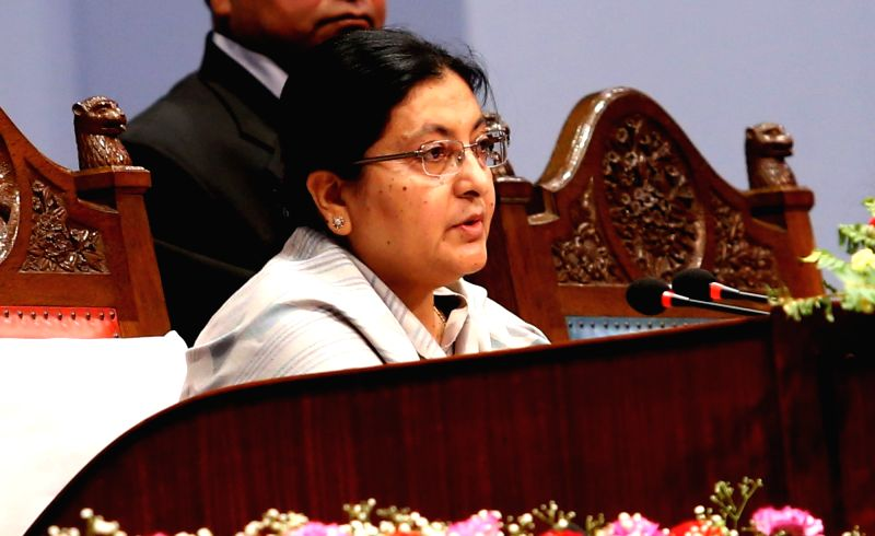 KATHMANDU, May 8, 2016 - Nepalese President Bidya Devi Bhandari presents the Nepalese government's annual policy and programme for the next fiscal year 2016/17 at parliament in Kathmandu, Nepal, May ...