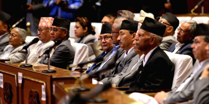 KATHMANDU, May 8, 2016 - Nepalese Prime Minister KP Sharma Oli (4th L, front), ministers and other lawmakers attend the presentation addressed by President Bidya Devi Bhandari on the Nepalese ... - K