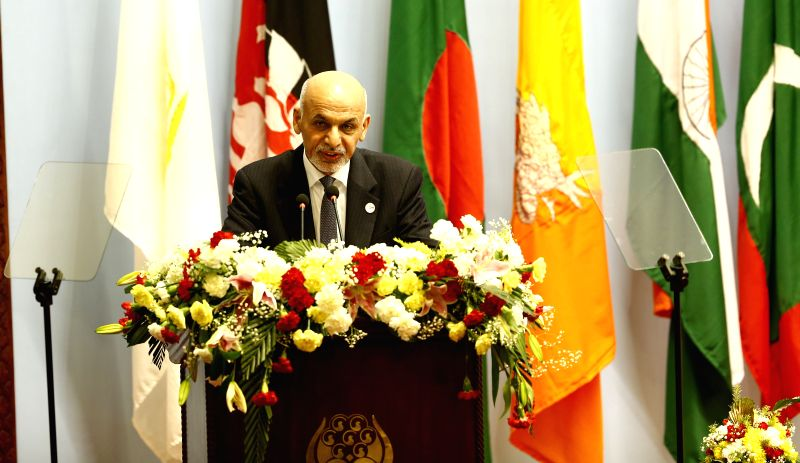 Kathmandu (Nepal): Afghan President Ashraf Ghani adresses his opening speech during the opening session of the 18th South Asian Association for Regional Cooperation (SAARC) Summit at City Hall in ...