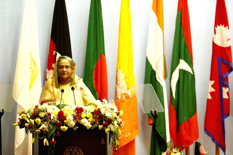 Kathmandu (Nepal): Bangladeshi Prime Minister Sheikh Hasina adresses opening speech during the opening session of the 18th South Asian Association for Regional Cooperation (SAARC) Summit at City Hall - Sheikh Hasina