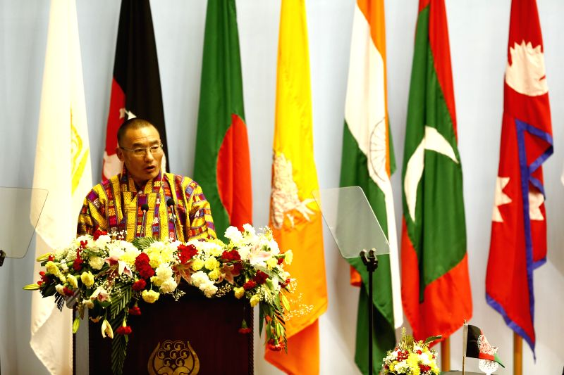 Kathmandu (Nepal): Bhutanese Prime Minister Lyonchhen Tshering Tobgay adresses his opening speech during the opening session of the 18th South Asian Association for Regional Cooperation (SAARC) ... - Lyonchhen Tshering Tobgay