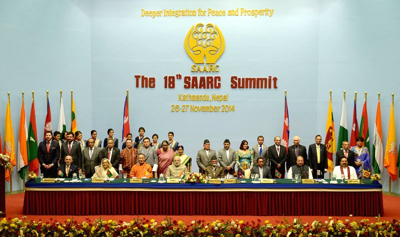 Kathmandu (Nepal): Heads of participating states attend the closing session of the 18th South Asian Association for Regional Cooperation (SAARC) summit at City Hall in Kathmandu, Nepal, Nov. 27, ...