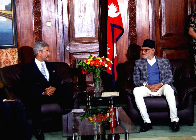 Kathmandu (Nepal): Indian Foreign Secretary S. Jaishankar meets Nepal Prime Minister Sushil Koirala in Kathmandu on April 3, 2015. - Sushil Koirala