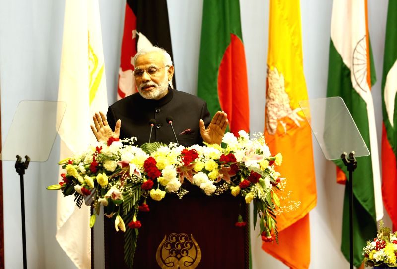 Kathmandu (Nepal): Indian Prime Minister Narendra Modi adresses his opening speech during the opening session of the 18th South Asian Association for Regional Cooperation (SAARC) Summit at City Hall . - Narendra Modi