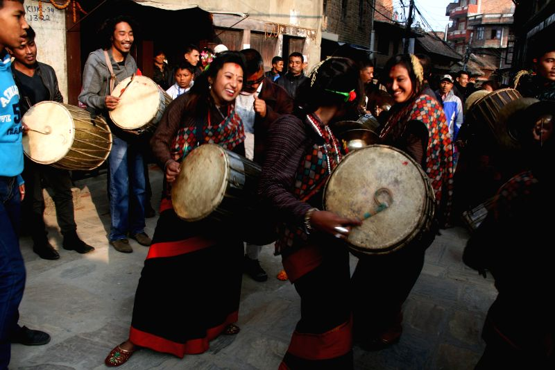 Kathmandu (Nepal): Local Devotees are seen playing traditional instruments in the Indrayani Festival at Kirtipur, outskirts of Kathmandu, Nepal, Dec. 1, 2014. The festival is celebrated every year ...