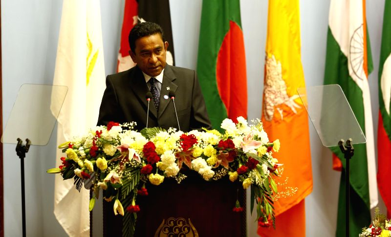 Kathmandu (Nepal): Maldives President Abdulla Yameen adresses his opening speech during the opening session of the 18th South Asian Association for Regional Cooperation (SAARC) Summit at City Hall in