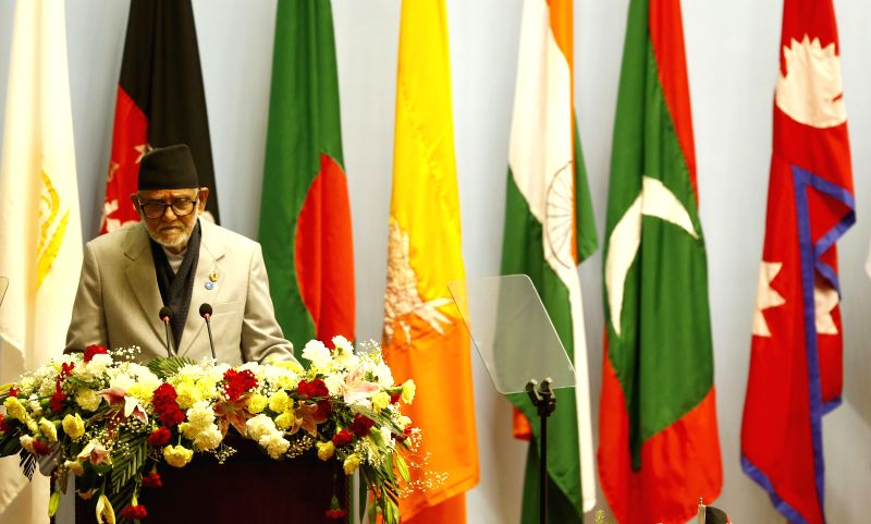 Kathmandu (Nepal): Nepalese Prime Minister Sushil Koirala addresses his opening speech during the opening session of the 18th South Asian Association for Regional Cooperation (SAARC) Summit at City .. - Sushil Koirala