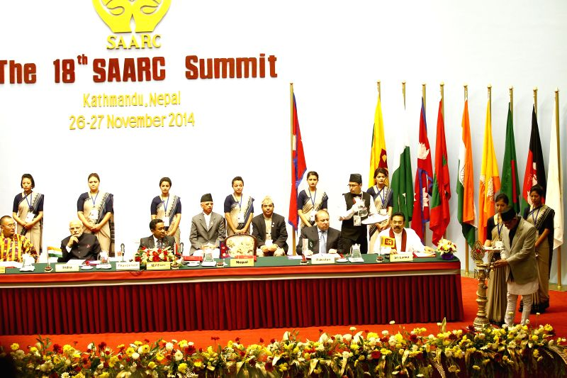 Kathmandu (Nepal): Nepalese Prime Minister Sushil Koirala (R front) inaugurates the opening session of the 18th South Asian Association for Regional Cooperation (SAARC) Summit at City Hall in ... - Sushil Koirala