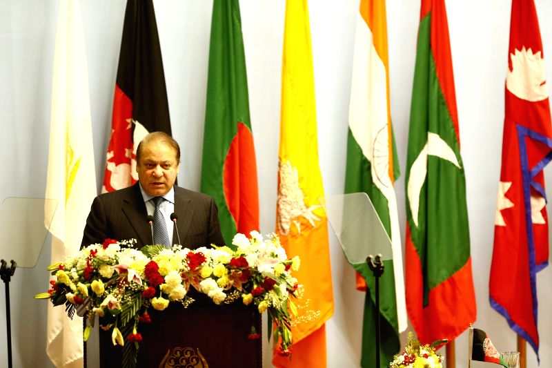 Kathmandu (Nepal): Pakistani Prime Minister Nawaz Sharif adresses his opening speech during the opening session of the 18th South Asian Association for Regional Cooperation (SAARC) Summit at City ... - Nawaz Sharif