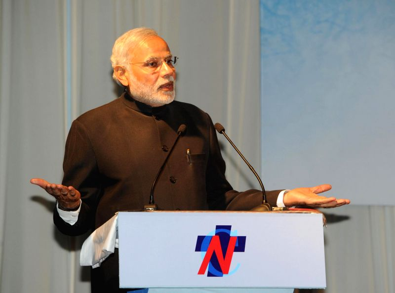 Prime Minister Narendra Modi addresses at the official handover and inaugural ceremony of the National Trauma Centre, in Kathmandu, Nepal on Nov 25, 2014. - Narendra Modi