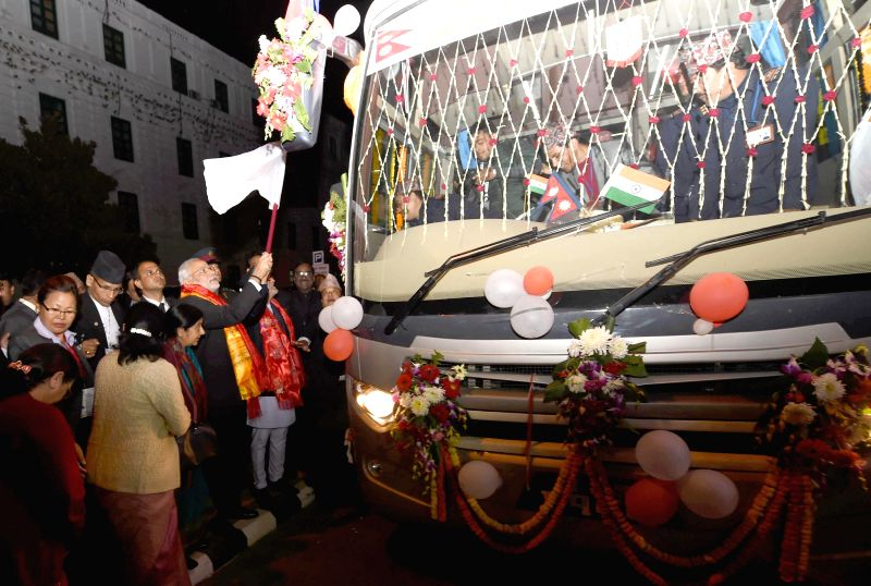 Prime Minister, Narendra Modi after the flagging off the Kathmandu-Delhi Direct Bus Service, in Kathmandu, Nepal, on Nov 25, 2014. - Narendra Modi