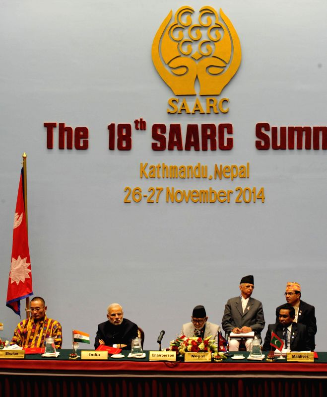 Prime Minister Narendra Modi at the inaugural session of the 18th SAARC Summit, in Kathmandu, Nepal, on Nov 26, 2014. Also seen Prime Minister of Nepal, Sushil Koirala and other ... - Narendra Modi