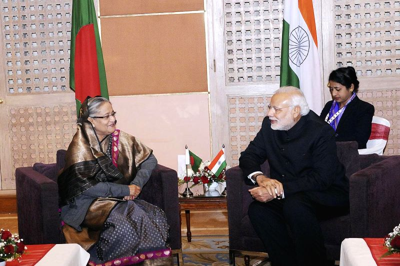 Prime Minister Narendra Modi meets Bangladesh Prime Minister Sheikh Hasina during the 18th SAARC Summit, in Kathmandu, Nepal, on Nov 26, 2014. - Narendra Modi and Hasina