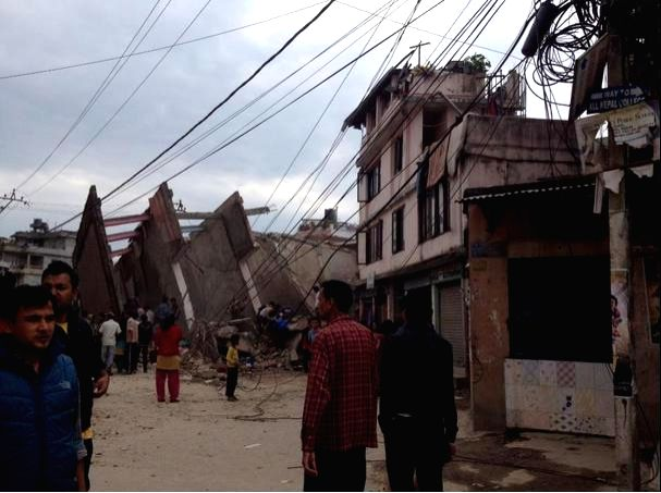 The destruction caused by the massive earthquake that rocked Nepal, in Kathmandu on April 25, 2015.
