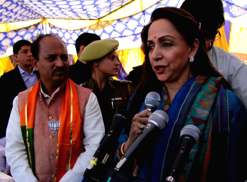 BJP MP from Mathura actress Hema Malini during a rally ahead of assembly elections in Kathua district of Jammu and Kashmir on Dec. 6, 2014.