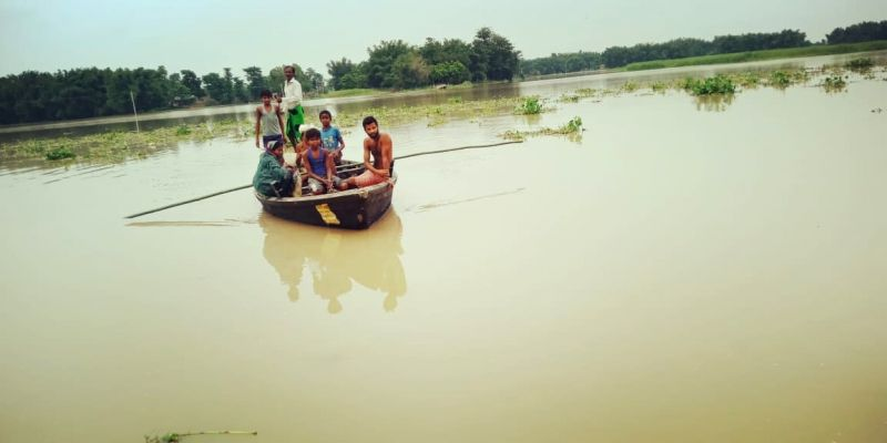 Katihar: A view of flood hit areas in Bihar's Katihar district on July 15, 2019. (Photo: IANS)